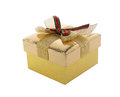 Holiday card gift golden box on a white background Royalty Free Stock Photo
