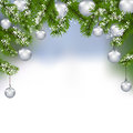 Holiday card. Green fir branches with silver balls in the real background. Christmas decorations. illustration Royalty Free Stock Photo