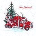 Holiday card Hand drawn red truck with christmas tree and gifts isolated on white background. Vintage sketch xmas lorry Royalty Free Stock Photo