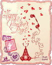 Holiday card with hand written text happy valentin valentine s day retro telephone hearts and stamp in vintage style Royalty Free Stock Image