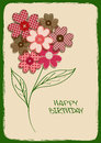 Holiday card or invitation with bouquet of flower patchworks fancy and buttons Stock Photography