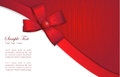 Holiday card with red gift bow and ribbons Royalty Free Stock Photo