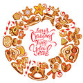 Holiday card round frame with xmas gingerbread on whit white cookies in reindeer star moon people heart house and fir tree shapes Royalty Free Stock Photos