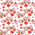 Holiday chinese lantern in spring blossom - sakura flowers . Repeating pattern. Watercolor background Royalty Free Stock Photo