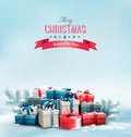 Holiday christmas background with gift boxes vector Royalty Free Stock Image