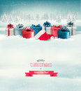 Holiday christmas background with gift boxes vector Royalty Free Stock Photography