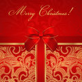 Holiday / Christmas / Birthday card. Gift box, bow Royalty Free Stock Photo