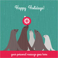 Holiday christmas card with cute sea lion family and space for your text Royalty Free Stock Images