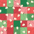 Holiday Christmas and New Year Intertwined String Lights on Red and Green Square Background Vector Seamless Pattern Royalty Free Stock Photo