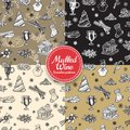 Holiday Christmas and New Year seamless pattern set. Vector illustration of wrapping paper in doodle style design