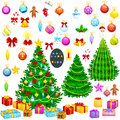 Holiday christmas tree isolated decoration for celebrate xmass with ball gold bells candles stars lights candy and Royalty Free Stock Photo