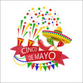 Holiday of Cinco de Mayo. Confetti and crackers. Sombrero, flags, maracas and red peppers. illustration