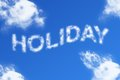 Holiday cloud word on blue background Stock Images