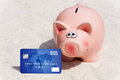 On holiday with credit card vacation pay by without cash Stock Photography