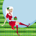 Holiday Elf with a Gift Stock Photography