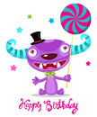 Holiday Every Day. Cute Monster With Color Lollipop Vector. Cartoon Monster Vector Illustration.