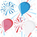 Holiday fireworks seamless pattern with balloons Royalty Free Stock Image