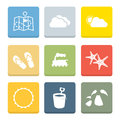 Holiday flat icons for web and mobile applications Royalty Free Stock Photography