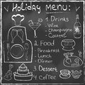 Holiday food menu set hand drawn on chalkboard res restaurant design trendy style organic concept in vector Royalty Free Stock Images
