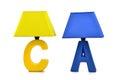Holiday gift led table lamp desk lamp desk lighting art light art lamp art lighting,keepsake yellow blue kighting decorated in Royalty Free Stock Image