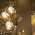 Holiday gold background with golden glass balls Stock Photo