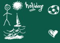 Holiday, green chalkboard background Stock Image