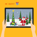 Holiday greeting card with a smiling Santa Royalty Free Stock Photo