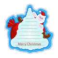 Holiday greeting sticker with a cheerful Santa Claus on a Christmas tree on a blue background. Frame for writing greetings in the Royalty Free Stock Photo