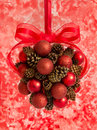 Holiday Hanging Ball with Pine Cones Stock Photo