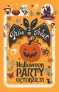 Holiday Happy Halloween flyer template with funny cartoon smiling bat with spread wings and Trick or Treat lettering