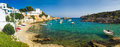 Holiday harbour spain idyllic fishing on the island of minorca Stock Images