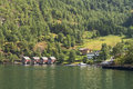 Holiday homes at the mountain a sognefjorden norway Stock Images