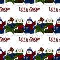 Holiday illustration. Christmas snowmen. New Year card. Winter figure. Seamless pattern. Royalty Free Stock Photo