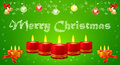 Holiday image of burning candles on green background christmas greeting card with balls and golden bells Stock Images