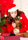 Holiday kiss Royalty Free Stock Images