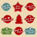 Holiday labels set retro illustration Stock Photo
