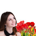 Holiday light easter beautiful girl with tulips young beauty happy young garden fresh colorful Royalty Free Stock Photography