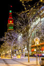 Holiday lights in denver colorado usa u s a december light display along s th street mall with historic landmark the daniel fisher Royalty Free Stock Photos
