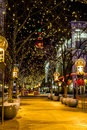 Holiday lights in denver colorado usa u s a december light display along s th street mall with historic landmark the daniel fisher Stock Image