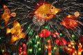 Holiday lights every major in china and even the world and people are all copper flame fireworks to celebrate china is the world s Stock Photography