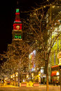 Holiday lights on th street mall denver colorado usa december light display along s with historic landmark daniel fisher tower lit Stock Photo