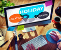Holiday location booking leisure happiness celebration concept Stock Photos