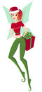 Holiday & Magic Christmas. Illustration of cute teen girl elf with gift box on white Royalty Free Stock Photo