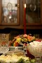 Holiday meal table Royaltyfri Fotografi