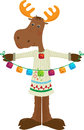 Holiday moose icon cute cartoon holding colorful bells eps Stock Image
