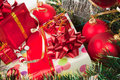 Holiday ornaments and gifts Stock Photography