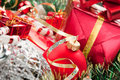 Holiday ornaments and gifts Royalty Free Stock Photography