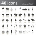 Holiday and party icons set of black white in editable vector format Royalty Free Stock Photo