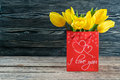 Holiday Postcard with Tulip Flowers