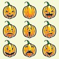 Holiday pumpkin jack lantern collection vector illustration of the Stock Photography